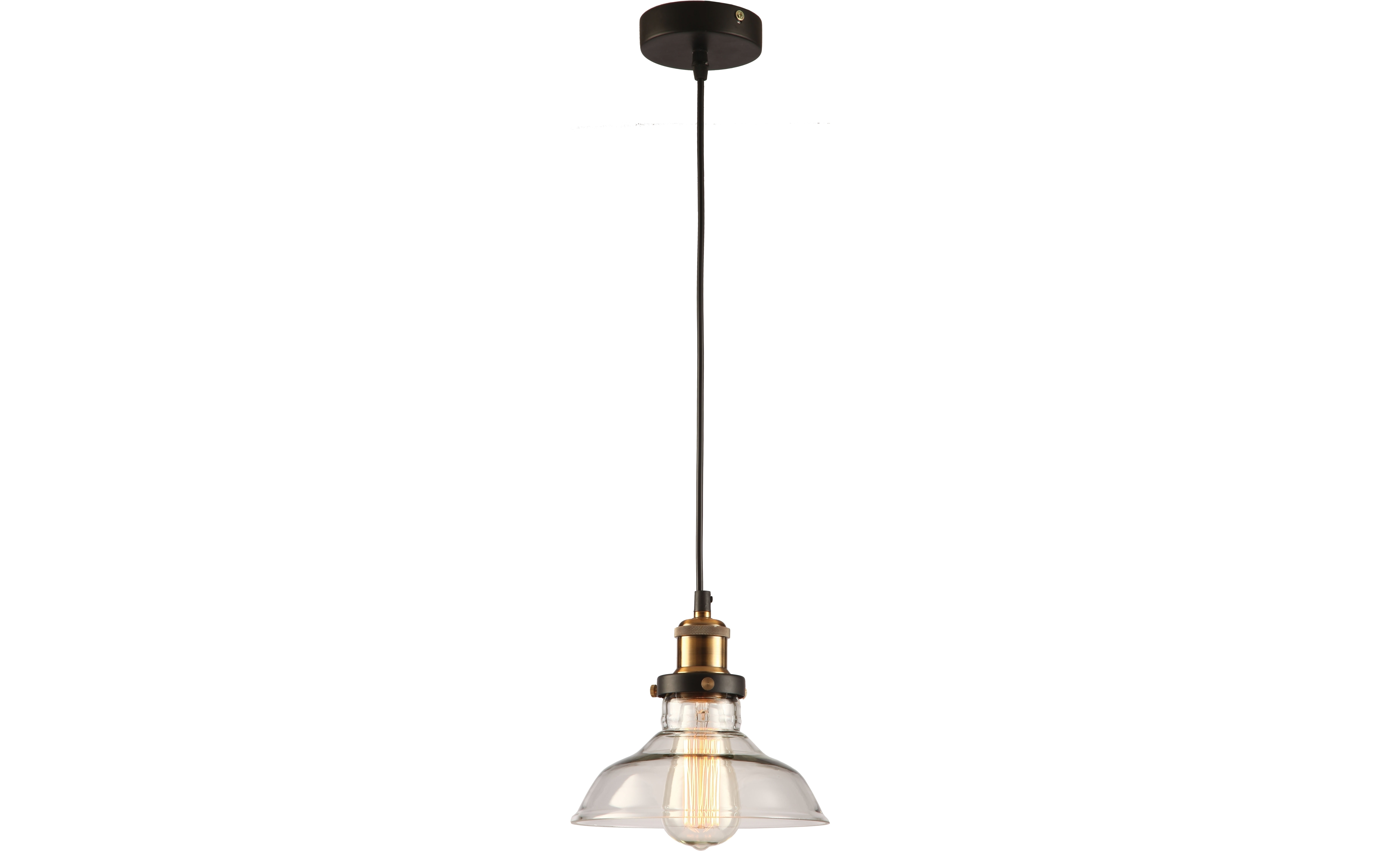 Подвесной светильникПодвесные светильники<br>Материал: металл<br>Лампочки в комплекте: 1*60W<br>Цоколь: E27<br>Цвет: черный, золото<br><br>Material: Металл<br>Height см: 120<br>Diameter см: 20