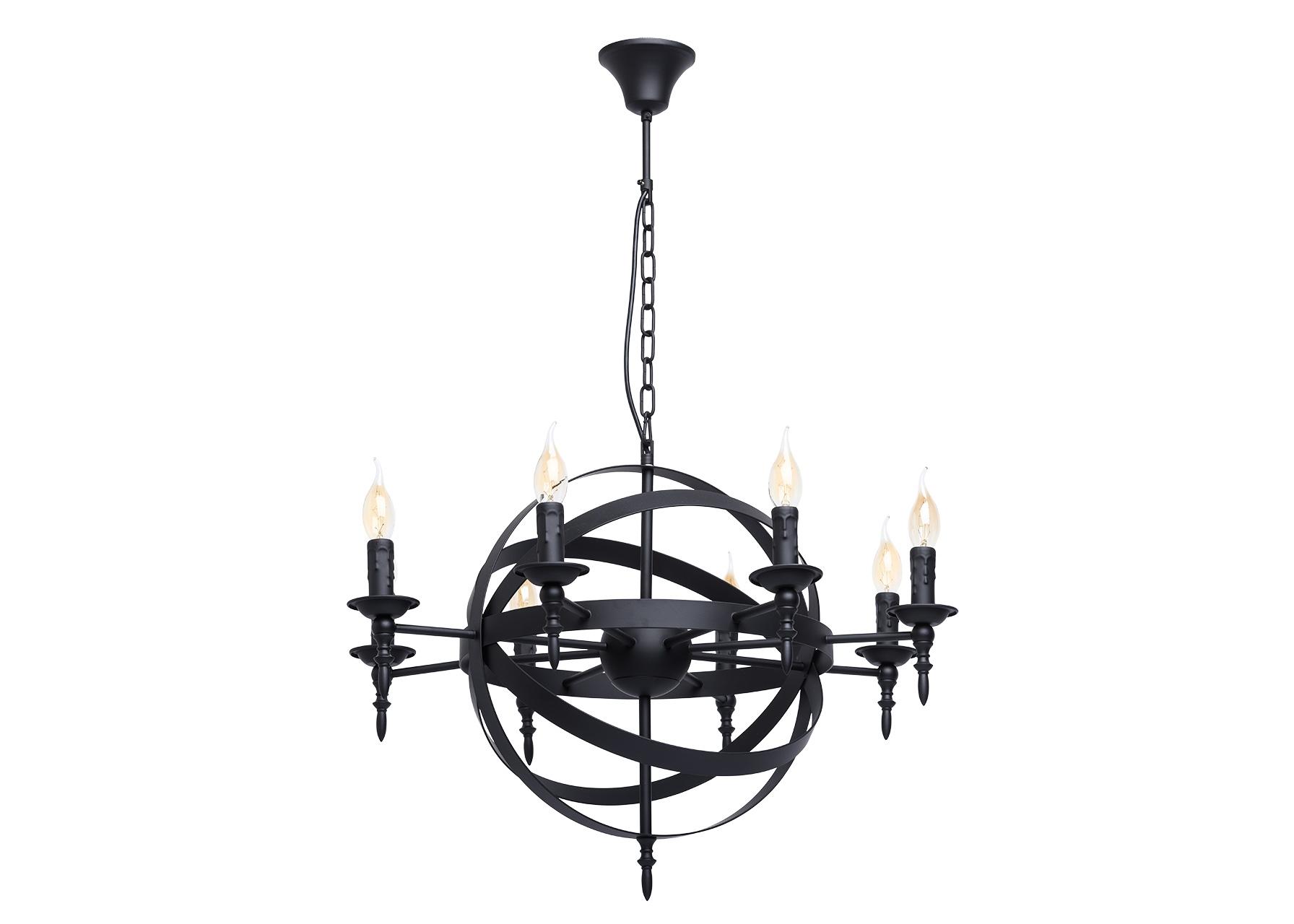 Подвесной светильникЛюстры подвесные<br>&amp;lt;div&amp;gt;Готический дизайн люстры из коллекции «Замок» привлекает сочетанием классических деталей с &amp;amp;nbsp;современными элементами. Люстра выполнена в единой цветовой гамме матового чёрного цвета. Основание из металла плавно переходит в подсвечники для ламп, выполненные в виде оплавленной свечи и напоминающие о классических традициях. Композиция дополнена сферическим переплетением плоских металлических пластин вокруг &amp;amp;nbsp;шара в центральной части светильника. Стильный, трендовый дизайн позволяет люстре «Замок» гармонично смотреться в любой обстановке. Рекомендуемая площадь освещения порядка 24 кв.м.&amp;lt;/div&amp;gt;&amp;lt;div&amp;gt;Арматура светильника выполнена из сплава металла и окрашенна в черный цвет. Напатронники выполнены в виде оплавленной свечи.&amp;lt;/div&amp;gt;&amp;lt;div&amp;gt;8*60W E14 220 V&amp;lt;/div&amp;gt;<br><br>Material: Металл<br>Height см: 95<br>Diameter см: 68