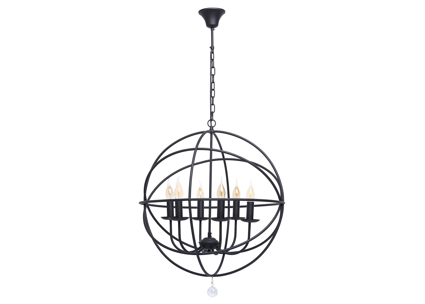 Подвесной светильникЛюстры подвесные<br>&amp;lt;div&amp;gt;Необычная люстра из коллекции «Замок» сочетает в себе &amp;amp;nbsp;элементы брутальности и современного дизайна. Матовое чёрное основание из металла выполнено в кованой стилистике, а источники света в виде свеч создают атмосферу старых дворцовых интерьеров. &amp;amp;nbsp;Свечи заключены внутри сферы из металлических колец. Подобная необычная композиция – идеальное решение для людей со вкусом, ценящих оригинальные решения в интерьере. Рекомендуемая площадь освещения – 18 кв.м.&amp;lt;/div&amp;gt;&amp;lt;div&amp;gt;Арматура выполнена из сплава металла и окрашена в черный цвет. Декоративные напатронники &amp;amp;nbsp;также окрашены в черный цвет и имитируют оплавленную свечу. Оригинальным декоративным приемом является переплетение сферических окружностей, также выполненных из сплава металла и окрашенных в черный цвет. Светильник декорирован подвесками из хрусталя сферической формы с высокой степенью огранки.&amp;lt;/div&amp;gt;&amp;lt;div&amp;gt;Кованое металлическое основание черного цвета, декоративная подвеска из хрусталя&amp;lt;/div&amp;gt;&amp;lt;div&amp;gt;6*60W E14 220 V&amp;lt;/div&amp;gt;<br><br>Material: Металл<br>Height см: 115<br>Diameter см: 62