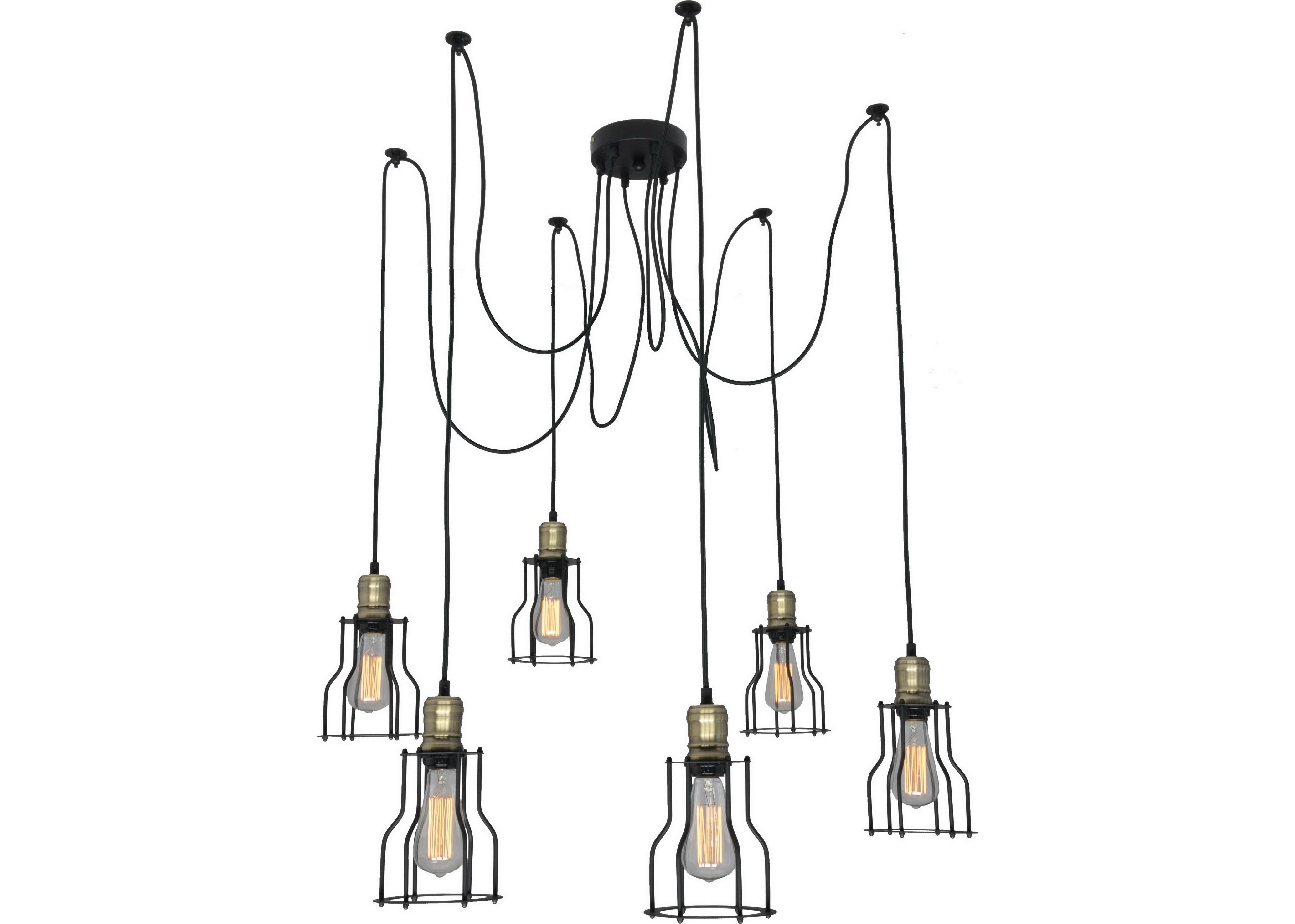 Подвесной светильникПодвесные светильники<br>Материал: металл<br>Лампочки в комплекте: 6*60W<br>Цоколь: E27<br>Цвет: черный, латунь<br><br>Material: Металл<br>Высота см: 200