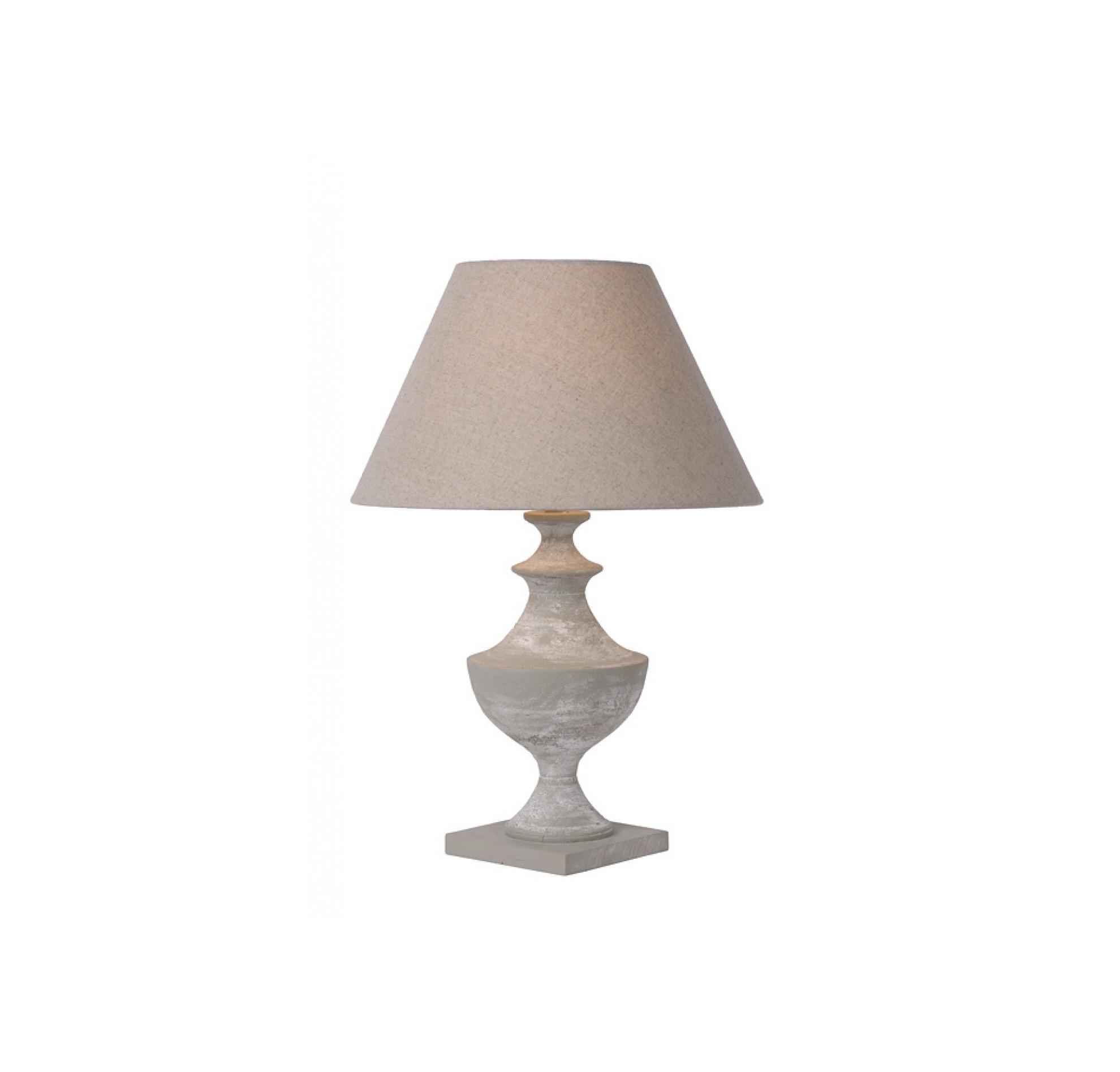 Настольная лампа ROBINДекоративные лампы<br>основание: металл/дерево/серый<br>плафон: лён/серо-коричневый<br>диаметр: 40 см<br>высота: 58 см<br>E27, 60W,1 лампочка (в комплект не входит)<br><br>Material: Дерево<br>Высота см: 58