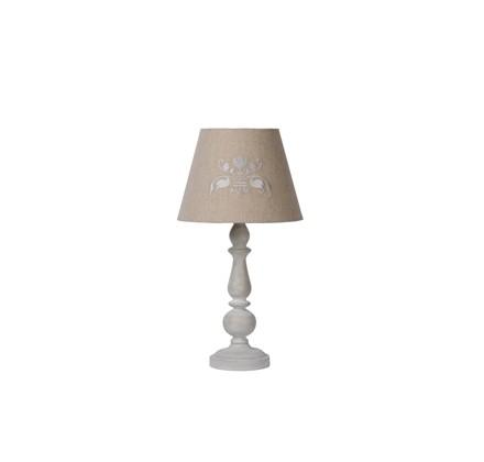 Настольная лампа ROBINДекоративные лампы<br>основание: металл/дерево/серый<br>плафон: лён/серо-коричневый<br>диаметр: 25,5 см<br>высота: 48 см<br>E27, 60W,1 лампочка (в комплект не входит)<br><br>Material: Дерево<br>Height см: 48<br>Diameter см: 25,5