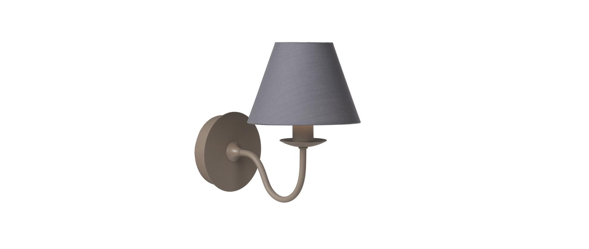 Настенный светильник CAMPAGNEБра<br>основание: металл<br>абажур: ткань/серая<br>ширина: 14 см<br>высота: 21 см<br>E14, 40W<br><br>Material: Металл<br>Ширина см: 14<br>Высота см: 21