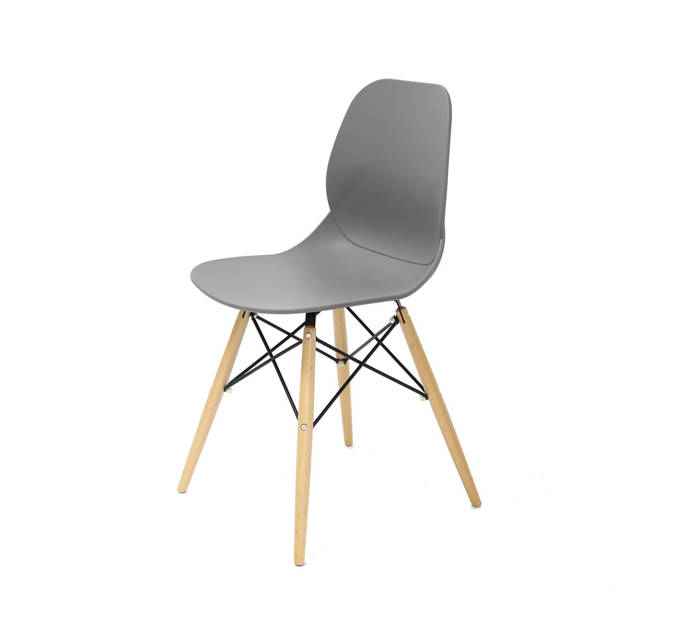 Стул PW-025 серыйОбеденные стулья<br>Материал: Пластик, дерево<br><br>Material: Пластик<br>Ширина см: 45<br>Высота см: 82<br>Глубина см: 49