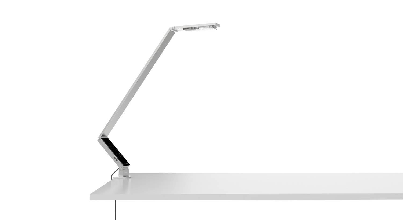 Настольная лампа LINEAR TABLE PRO CLAMPНастольные лампы<br>LINEAR TABLE PRO CLAMP в стиле hi-tech продумана до мелочей. Сочетание высококлассной LED-технологии, точной регулировки света, а также возможности построить свой оптимальный график светового дня делают эту лампу идеальным инструментом для работы. Фиксация лампы на краю стола или к стене с помощью струбцины: экономия поверхности поверхности стола при оптимальном освещении.&amp;lt;br&amp;gt;<br>LED-лампы:<br>- 2 лампы холодного белого свечения &amp;amp;amp; 2 теплого белого свечения<br>- генерация света интенсивностью до 1000 лк при высоте 75 см<br>- срок службы более 50 000 часов за счет радиаторов охлаждения. Отсутствует риск обжечься при контакте с головкой лампы.&amp;lt;br&amp;gt;<br>Дополнительные элементы:<br>- 2 USB-канала для зарядки мобильного телефона, планшета<br>Питание: <br>- класс потребления энергии: А<br>- в комплекте евроштекер и штекер британского стандарта<br>- АС-кабель 1,2 м, DC-кабель 1,5 м<br>&amp;lt;br&amp;gt;<br>Алюминиевый корпус, сверхпрочные самоблокирующиеся шарниры.<br><br>Material: Алюминий<br>Высота см: 30<br>Глубина см: 9