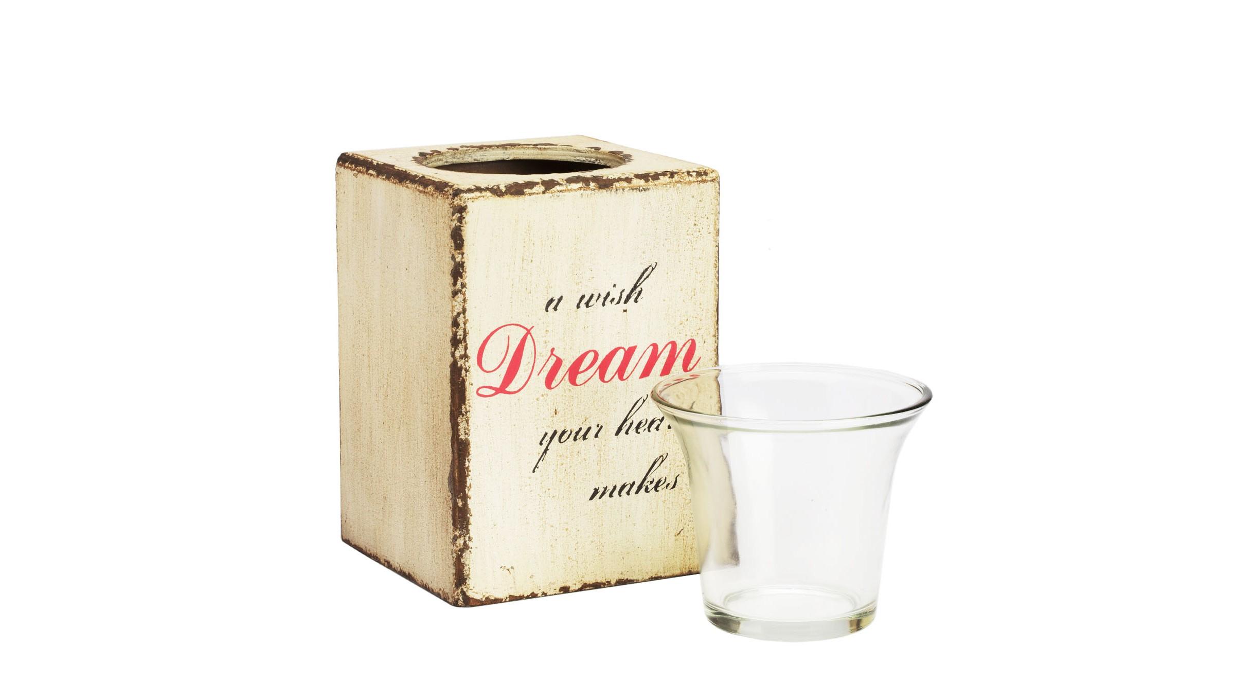 Подсвечник Provence CreamПодсвечники<br>Цветущие фруктовые сады, яркое солнце, теплое море и крики чаек над волнами — все это стиль Прованс с его уютными белеными домами, ненавязчивым изобилием и забытыми воспоминаниями из детства. Оригинальный подсвечник Provence Dream с надписью «A wish dream your heart makes (Мечта — это желание вашего сердца)» выполнен в светлых бежевых тонах, словно подчеркивающих теплое мерцание свечи и создающих романтическое, летнее настроение. Простота и незамысловатость линий дополняют ощущение размеренной и неторопливой жизни.<br><br>Material: МДФ<br>Width см: 10<br>Depth см: 10<br>Height см: 15