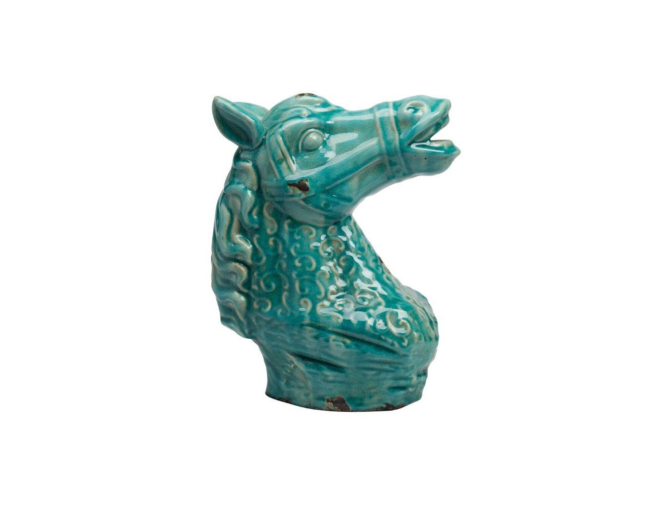 Предмет декора CristobalСтатуэтки<br>Каждый, кто любит окружать себя простыми, из натуральных материалов, старинными предметами, наверняка купит бюст лошади в античном исполнении. Голова лошади выполнена в динамичной позе из керамики, покрыта глазурью зелёного цвета с признаками состаривания данной скульптуры.<br><br>Material: Керамика<br>Width см: 23<br>Depth см: 14<br>Height см: 29