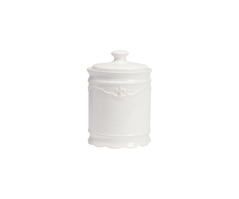 Емкость для хранения Amur GrandeЕмкости для хранения<br>Ёмкость для хранения Amur Grande выполнена из керамики, покрыта глазурью белого цвета. Крышка снабжена удобной ручкой. Декорирована геральдической лилией в верхней части емкости. Вы можете приобрести и другие емкости данной коллекции.<br><br>Material: Керамика<br>Height см: 20<br>Diameter см: 13,5