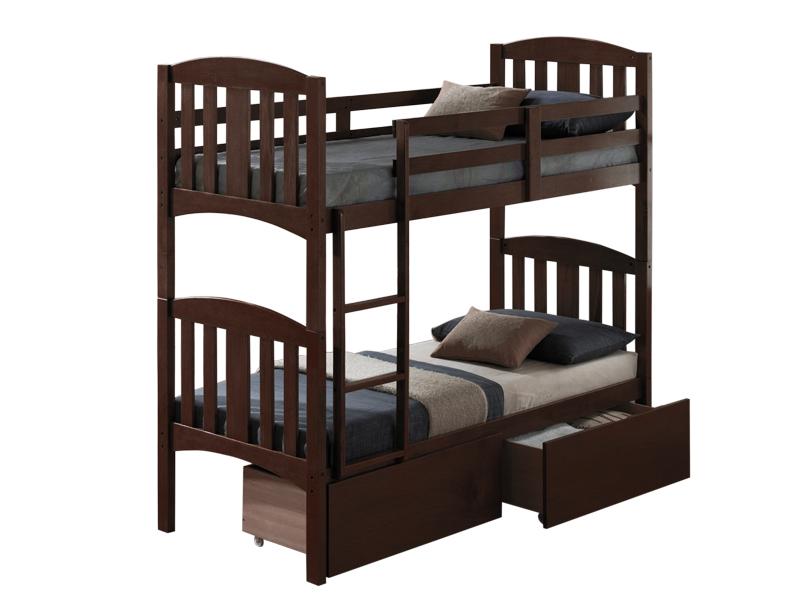 Кровать Мальвина 2-х ярусная с ящикамиДетские кровати и диваны<br>Двухъярусная кровать «Мальвина» изготовлена из натурального дерева гевеи (каучуковое дерево) цвета «Редвуд». Функциональность кровати дополнительно обеспечена выдвижными ящиками.<br>Спальное место: 80 x 190 см. Материалы: дерево.<br><br>Material: Дерево<br>Length см: 198<br>Width см: 88,2<br>Height см: 182,7