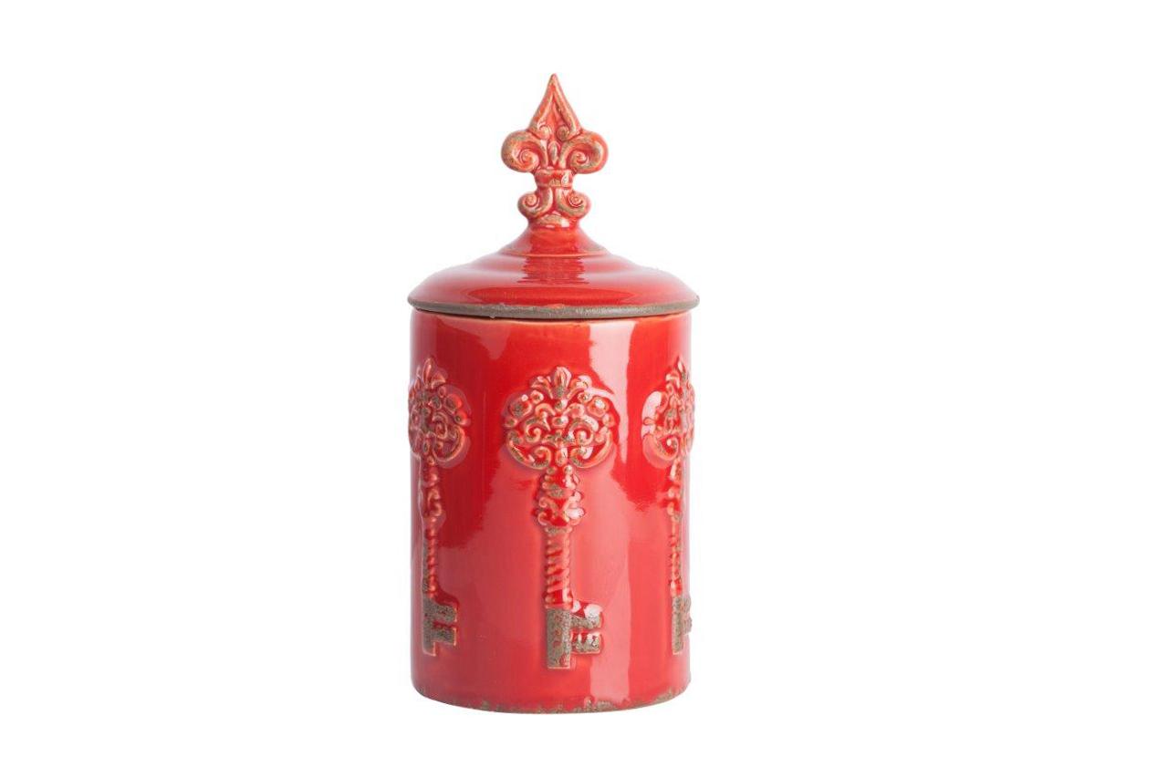 Емкость для хранения RossoЕмкости для хранения<br>Ёмкость для хранения Rosso — яркий представитель стиля Прованс, благодаря чему удачно впишется в интерьер в классическом стиле. Искусственные потертости по керамической поверхности, неброская оригинальная лепка и приятный красный цвет придают аксессуару деревенское очарование и в то же время некий аристократизм. Банка идеально подойдёт для хранения сыпучих, сладостей или мелких безделушек.<br><br>Material: Керамика<br>Height см: 28<br>Diameter см: 14
