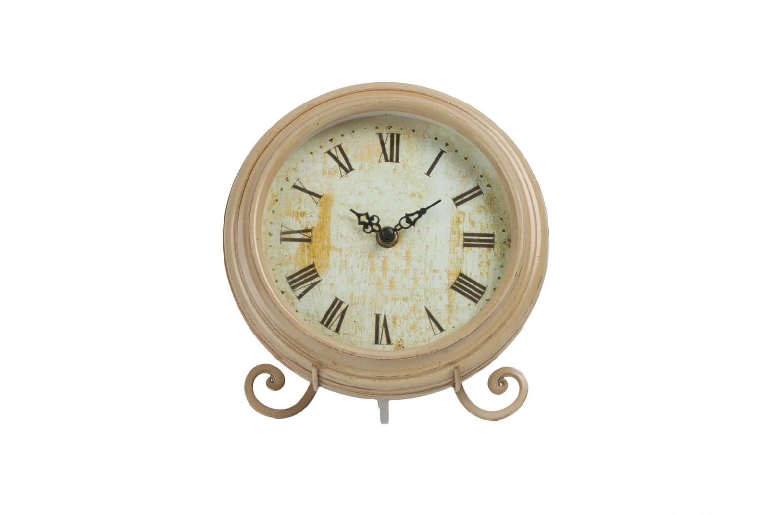 Часы на подставке PitoneНастольные часы<br>Часы на подставке Pitone выполнены в архаичном стиле Прованс: искусственная жёлтизна — признак старины — по всей поверхности циферблата, изысканные кованные металлические ножки, простая форма, нежные цвет. Этот винтажный элемент декора поможет наполнить вашу спальню, кухню, гостиную и любую другую комнату оригинальностью и очарованием французской провинции.<br><br>Material: МДФ<br>Width см: 20<br>Depth см: 8<br>Height см: 25