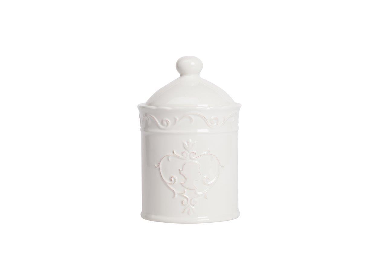 Емкость для хранения LadyЕмкости для хранения<br>Ёмкость для хранения Lady выполнена из керамики, покрытой глазурью белого цвета, декорирована изящным выпуклым рисунком с женским профилем. ёмкость изготовлена из совершенно безопасного натурального материала, предназначена для хранения сыпучих и жидких продуктов.<br><br>Material: Керамика<br>Высота см: 19