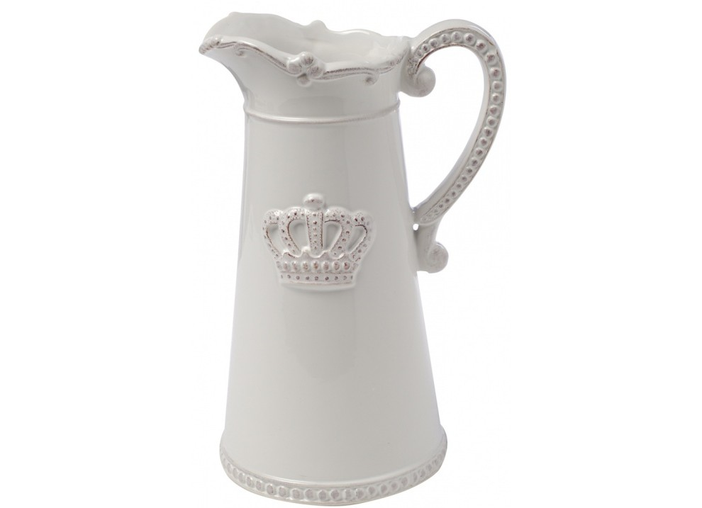 Кувшин AishaКувшины и графины<br>Небольшой белый кувшин Aisha классической формы с рельефным декором в виде короны подарит вам эстетическое наслаждение и позитивный настрой. Несмотря на минимальный декор, он выглядит очень элегантно и вполне подойдет для украшения гостиной, кухни и дачного стола, из него очень удобно наливать молоко или сливки. Кувшин можно приобрести отдельно или в дополнение к другим предметам коллекции.<br><br>Material: Керамика<br>Width см: 15,2<br>Depth см: 12,7<br>Height см: 24,1