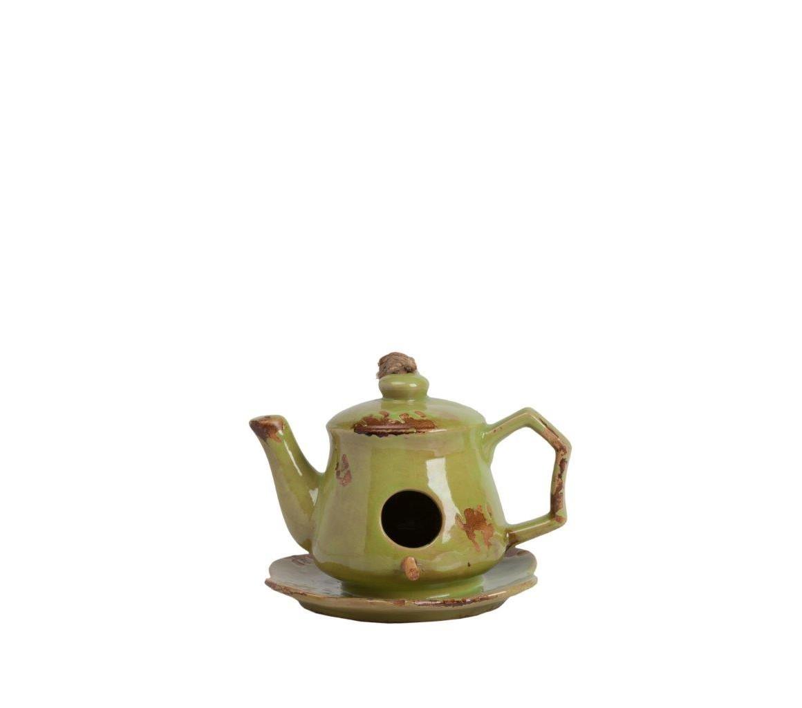 Aромолампа Candelero OliveАроматические лампы<br>Зелёная аромалампа Candelero Olive используется для ароматизации помещений, а если эта лампа выполнена в стиле Прованс, с искусственными потертостями и декоративными элементами, то она способна украсить собой ваш дом и создать в нем романтическую атмосферу. Благодаря аксессуару и нескольким каплям эфирных масел вы сможете снять напряжение, расслабиться после трудного рабочего дня и просто отдохнуть. Станет отличным подарком ценителю красивых вещей. Расставьте по помещениям вашего дома аромалампы разных цветов из коллекции Candelero — и он наполнится благоуханием!<br><br>Material: Керамика<br>Width см: 17<br>Depth см: 15,5<br>Height см: 12,5