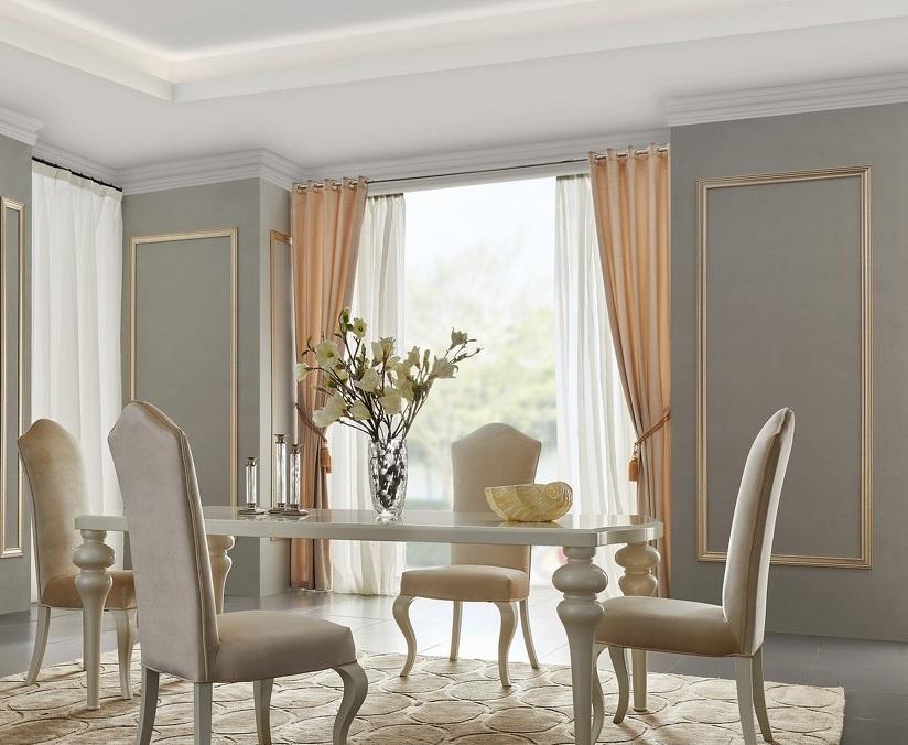 Обеденный стол RIMINIОбеденные столы<br>Обеденный стол выполнен в стиле ар деко. Сделан из высококачественного МДФ высокой плотности и массива дерева.<br>Отделка жемчужный белый лак Pearl White.<br><br>Material: Дерево<br>Ширина см: 180<br>Высота см: 76<br>Глубина см: 100
