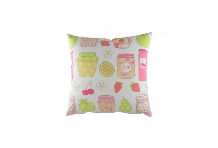 Подушка Summersdale CoralКвадратные подушки<br>Белая подушка, с чехлом из натуральной ткани (хлопок) и с изображением различных ягод и баночек с вареньем в цвете микс, с преобладанием кораллового цвета, подойдет для подарка, украсит интерьер вашего дома.<br><br>Material: Хлопок<br>Width см: 43<br>Depth см: 10<br>Height см: 43