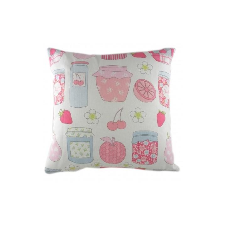 Подушка Summersdale BluebellКвадратные подушки и наволочки<br>Белая подушечка, с чехлом из натуральной ткани (хлопок) и с изображением различных плодов и ягод в розовом и голубом цвете, подойдет для подарка и украсит интерьер вашего дома, в особенности детскую комнату.<br><br>Material: Хлопок<br>Width см: 43<br>Depth см: 10<br>Height см: 43