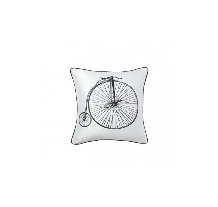 Подушка Retro BicycleКвадратные подушки и наволочки<br>Белая подушка с хлопковым чехлом и изображением ретро-велосипеда Retro Bicycle White экологична и удобна, подчеркнет особенность, уют и очарование вашего дома. Подушка также будет отличным сувениром и оригинальным подарком любителям велосипедных прогулок.<br><br>Material: Хлопок<br>Width см: 43<br>Depth см: 10<br>Height см: 43