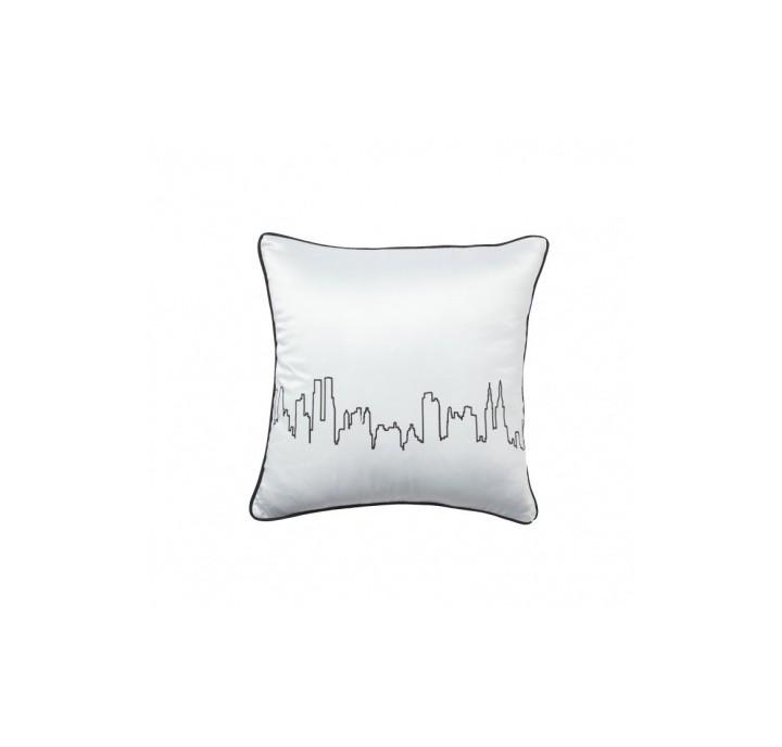 Подушка City WavesКвадратные подушки<br>Белая подушка с рисунком, символизирующим городское многоголосье. Мягкий упругий наполнитель хорошо поддержит вашу спину. Подушка с контрастным декором так и приглашает отдохнуть от городской суеты и станет стильным аксессуаром вашей спальни либо гостиной. Подушка также будет отличным сувениром и оригинальным подарком.<br><br>Material: Хлопок<br>Width см: 43<br>Depth см: 10<br>Height см: 43
