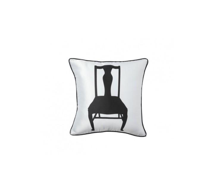 Подушка ChairКвадратные подушки и наволочки<br>Белая хлопковая подушка с рисунком в виде чёрного стула и мягким упругим наполнителем хорошо поддержит вашу спину, поможет расслабиться и принять удобную позу, послужит отличным аксессуаром для декора. Подушка также будет отличным сувениром и оригинальным подарком.<br><br>Material: Хлопок<br>Ширина см: 43<br>Высота см: 43<br>Глубина см: 10