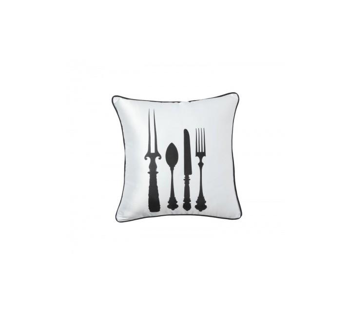 Подушка TablewareКвадратные подушки и наволочки<br>Белая подушечка с чёрным изображением столовых приборов Tableware Whitel изготовлена из натуральной ткани (хлопок). Подушки с таким декором подойдут для подарка и изыскано украсят интерьер вашей столовой.<br><br>Material: Хлопок<br>Ширина см: 43<br>Высота см: 43<br>Глубина см: 10