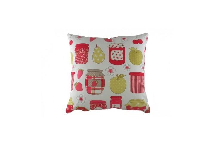 Подушка Summersdale JamКвадратные подушки и наволочки<br>Белая подушка, с чехлом из натуральной ткани (хлопок) и с изображением различных плодов, ягод и баночек с джемом, с преобладанием красного и розового цветов, подойдёт для подарка и украсит интерьер вашего дома.<br><br>Material: Хлопок<br>Width см: 43<br>Depth см: 10<br>Height см: 43