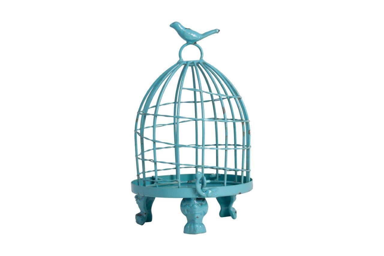 Декоративная клетка Articoli Piccolo BlueДекоративные клетки<br>Декоративная клетка Articoli Piccolo голубого цвета — изготовлена из никелированнного металла со съемным днищем. Ручка декорирована маленькой птичкой. Данный аксессуар в стиле Прованс можно использовать в зависимости от вашей фантазии в оформлении любого интерьера. Оставить её пустой или запереть что-либо внутрь, поставить на хранение — в этом вы вольны сделать свой выбор. Ясно одно — этот элемент декора однозначно привлечет внимание ваших гостей.<br><br>Material: Металл<br>Height см: 24<br>Diameter см: 15