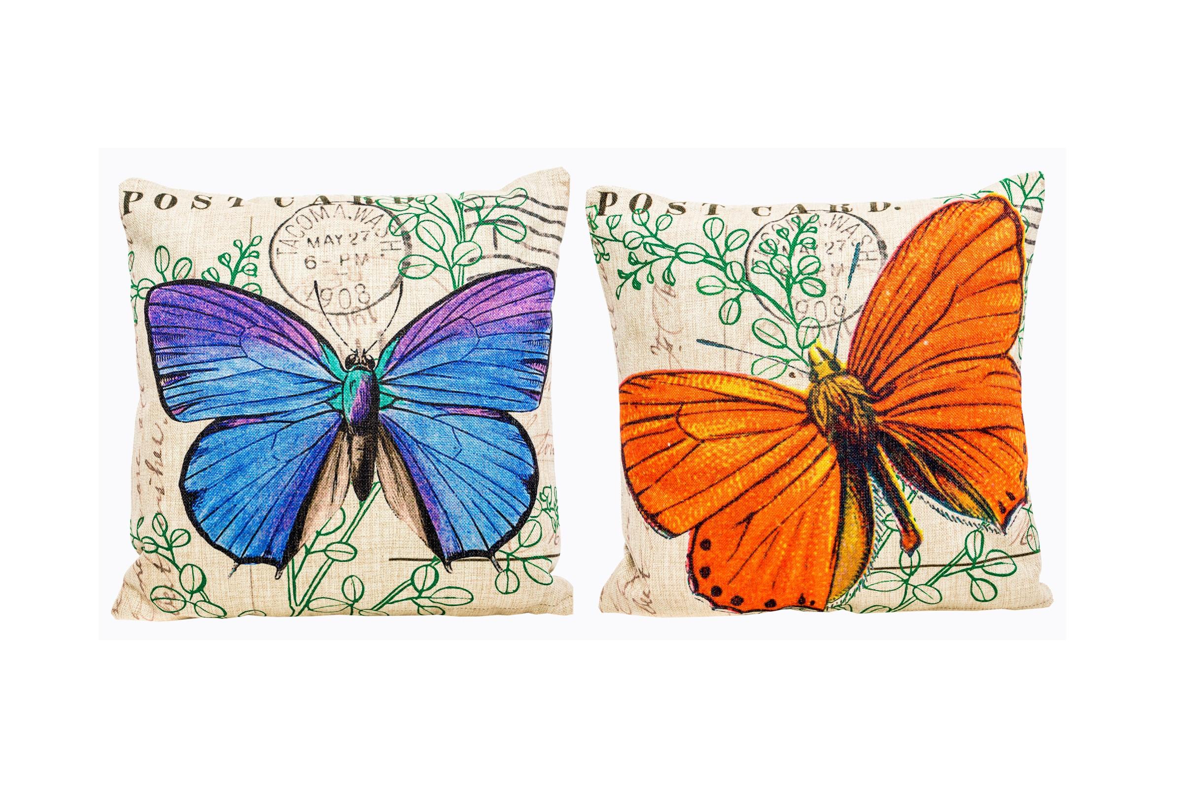 Набор из двух декоративных подушек Почтовый романКвадратные подушки<br>Цветные декоративные подушечки радикально преображают интерьер любого помещения, будь то спальня, гостиная, каминный зал, холл или студия.<br>Подушки, украшенные веселыми разноцветными бабочками, весьма желанны в детской комнате. Отметьте при этом их рациональный размер.<br>Окружите же себя позитивными вещицами, одухотворенными заботой, уютом и в прямом смысле теплом.&amp;amp;nbsp;&amp;lt;div&amp;gt;&amp;lt;br&amp;gt;&amp;lt;/div&amp;gt;&amp;lt;div&amp;gt;Подушки  уникальны: рисунок выпущен лимитированным тиражом.<br>При выборе декоративного чехла для подушечки обратите внимание на высокую плотность ткани. Она обеспечит вам не только дополнительную мягкость, но и максимальную долговечность любимого аксессуара.&amp;lt;/div&amp;gt;<br><br>Material: Хлопок<br>Width см: 45<br>Height см: 45