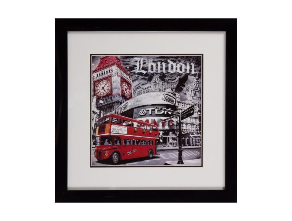 Постер с паспарту в раме London PortobelloПостеры<br>Коллекция таких «лондонских» постеров может стать яркими пятнами на белых стенах пространства, выдержанного в спокойной серой гамме, или, напротив, вторить красочному эклектичному интерьеру. Тема красных английских автобусов никогда не теряла своей актуальности, поэтому London Portobello – идеальный вариант для подарка по любому случаю.<br><br>Material: Дерево<br>Width см: 49<br>Depth см: 2<br>Height см: 49