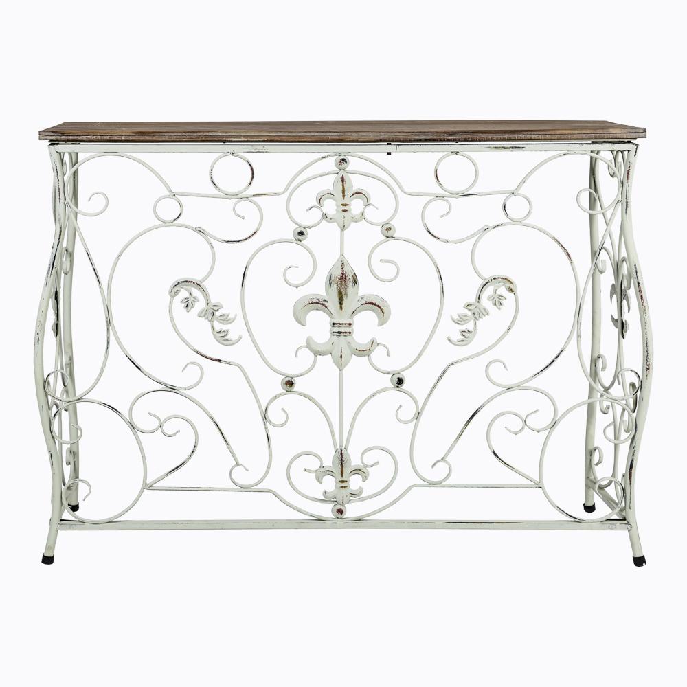Консоль «Королевская лилия»Интерьерные консоли<br>&amp;lt;div&amp;gt;Консоль &amp;quot;Королевская лилия&amp;quot; - удобная, изящная и обаятельная деталь спальни, кабинета, холла и гостиной комнаты. Консоль - универсальный предмет мебели, обслуживающий самые разнообразные бытовые функции. Во-первых, это многофункциональный столик: кофейный, сервировочный, журнальный, косметический. Во-вторых, консоли традиционны в качестве стоек для аппаратуры. В-третьих, декоративная консоль - это коллекционный уголок, насыщенный домашними растениями, вазами, статуэтками, подсвечниками и прочими интерьерными фаворитами.&amp;amp;nbsp;&amp;lt;/div&amp;gt;&amp;lt;div&amp;gt;Рисунок среза выглядит благородно и натурально. К тому же, ель является уникальной породой, природные соки которой убивают бактерии и вирусы, её структура не подвержена рыхлости. Тем самым, древесина ели максимально пригодна для мебели.&amp;lt;/div&amp;gt;&amp;lt;div&amp;gt;&amp;lt;br&amp;gt;&amp;lt;/div&amp;gt;<br><br>&amp;lt;iframe width=&amp;quot;530&amp;quot; height=&amp;quot;360&amp;quot; src=&amp;quot;https://www.youtube.com/embed/NnFNLdB2hYk&amp;quot; frameborder=&amp;quot;0&amp;quot; allowfullscreen=&amp;quot;&amp;quot;&amp;gt;&amp;lt;/iframe&amp;gt;<br><br>Material: Металл<br>Width см: 89<br>Depth см: 26,5<br>Height см: 68,6