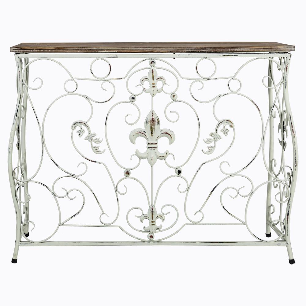 Консоль «Королевская лилия»Интерьерные консоли<br>Консоль &amp;quot;Королевская лилия&amp;quot; - удобная, изящная и обаятельная деталь спальни, кабинета, холла и гостиной комнаты.<br>Тонкие кружевные плетения обладают магическим свойством расширять помещения, вдыхая в обстановку волну свежести и невесомости. Королевская лилия, занимающая почетный центр конструкции, четко констатирует древнюю французскую родословную этого роскошного дизайна.&amp;amp;nbsp;&amp;lt;div&amp;gt;&amp;lt;br&amp;gt;&amp;lt;/div&amp;gt;&amp;lt;div&amp;gt;Столешница выполнена из натуральной ели.&amp;amp;nbsp;&amp;lt;/div&amp;gt;<br><br>Material: Металл<br>Width см: 99<br>Depth см: 29,5<br>Height см: 76,2