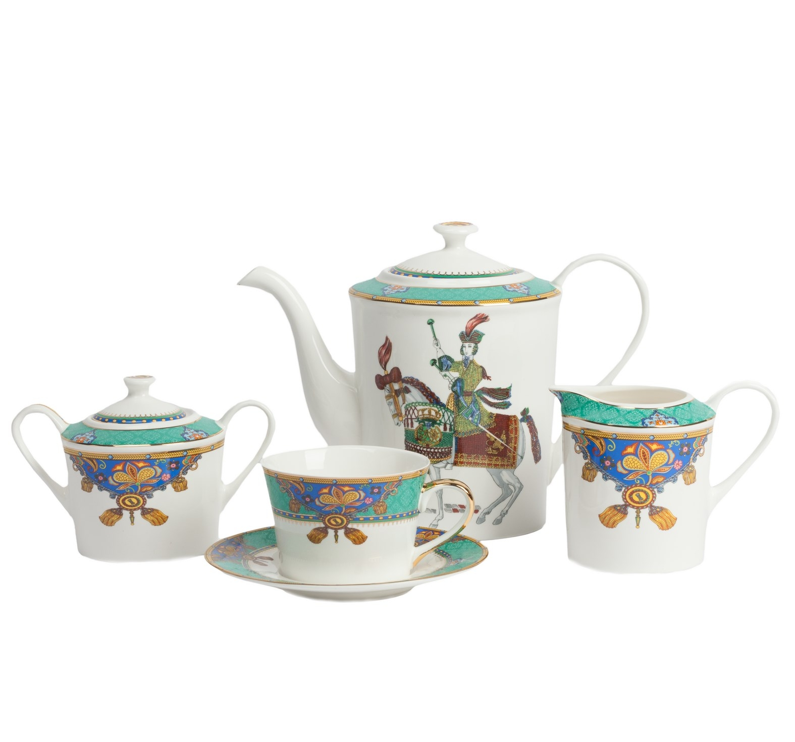 Чайный сервиз JineteЧайные сервизы<br>&amp;lt;div&amp;gt;Красивый сервиз Jinete из фарфора, в котором есть вся необходимая посуда для приятного и эстетичного чаепития. Сервиз сделан из фарфора, поэтому он смотрится благородно и надолго сохраняет первоначальный внешний вид. Чашка, сахарница и молочник украшены узором из кистей, листьев и вензелей в ярких цветах: бирюзовый, синий, желтый, красный. На чайнике сбоку расположен крупный рисунок в виде наездника на коне. Сервиз на 4 персоны: 4 пары (чашка+блюдце), молочник, сахарница, кофейник (чайник).&amp;amp;nbsp;&amp;lt;/div&amp;gt;&amp;lt;div&amp;gt;&amp;lt;br&amp;gt;&amp;lt;/div&amp;gt;&amp;lt;div&amp;gt;Размеры:&amp;amp;nbsp;&amp;lt;/div&amp;gt;&amp;lt;div&amp;gt;чайник - диаметр дна 11 см, диаметр самое широкое место 13 см, высота с крышкой 18 см, ширина с носиком и ручкой 25 см,&amp;amp;nbsp;&amp;lt;/div&amp;gt;&amp;lt;div&amp;gt;молочник - диаметр дна 7,5 см, диаметр самое широкое место 8,5 см, высота 9 см,&amp;amp;nbsp;&amp;lt;/div&amp;gt;&amp;lt;div&amp;gt;сахарница - диаметр дна 8 см, диаметр самое широкое место 10 см, высота с крышкой 10 см, ширина с ручкой 15,5 см,&amp;amp;nbsp;&amp;lt;/div&amp;gt;&amp;lt;div&amp;gt;чашка - диаметр дна 6,5 см, диаметр чашки 9 см, высота 6,5 см,&amp;amp;nbsp;&amp;lt;/div&amp;gt;&amp;lt;div&amp;gt;блюдце - диаметр 15 см.&amp;lt;/div&amp;gt;<br><br>Material: Фарфор<br>Width см: 33<br>Depth см: 18<br>Height см: 48