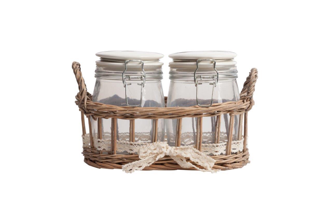 Набор для хранения в плетеной корзинке BunueloЕмкости для хранения<br>Набор из двух стеклянных банок с плотно закрывающимися крышками очень практичен, идеально подойдёт для хранения сыпучих продуктов и гармонично впишется в интерьер кухни в стиле Прованс. Благодаря плетеной корзинке все предметы набора будут храниться в одном месте.&amp;amp;nbsp;&amp;lt;div&amp;gt;Материал: стекло, дерево&amp;lt;/div&amp;gt;<br><br>Material: Стекло<br>Ширина см: 15<br>Высота см: 26<br>Глубина см: 17