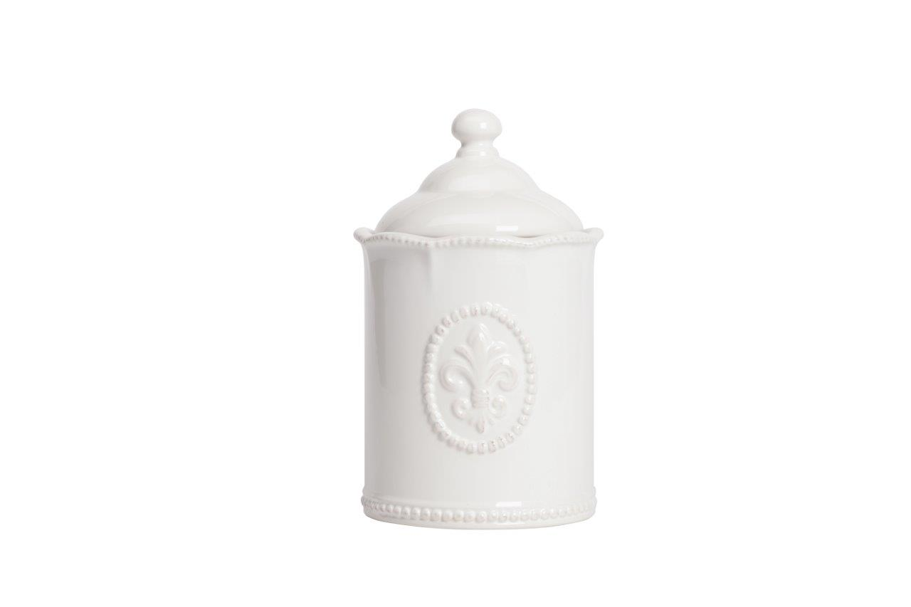Емкость для хранения Tess Grande CreamБанки и бутылки<br>Ёмкость для хранения Tess Grande Cream выполнена из керамики, покрыта глазурью белого цвета, декорирована выпуклым рисунком в виде геральдической лилии, изготовлена из совершенно безопасного натурального материала. ёмкость предназначена для хранения сыпучих и жидких продуктов. Впишется в любой стиль интерьера.<br><br>Material: Керамика<br>Height см: 23<br>Diameter см: 14