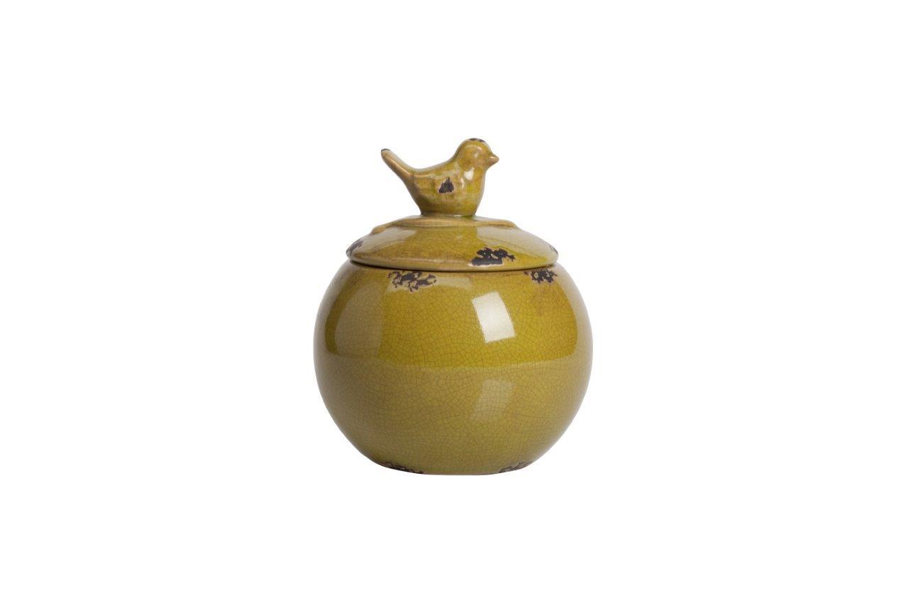 Декоративная банка Furla OliveЕмкости для хранения<br>Посуда в стиле Прованс обязательно должна быть искусственно состаренной, с трещинками, потертостями, и нести в себе особый дух и отпечаток времени. Керамическая декоративная банка Furla Olive украсит вашу кухню и придаст ей французский деревенский колорит. Провинциальность чувствуется в каждой детали предмета декора, начиная крышкой с ручкой в виде милой птички и заканчивая формой изделия. Благодаря лаконичному декору, банка станет отличным украшением любого стиля интерьера кухни.<br><br>Material: Керамика<br>Height см: 18<br>Diameter см: 15
