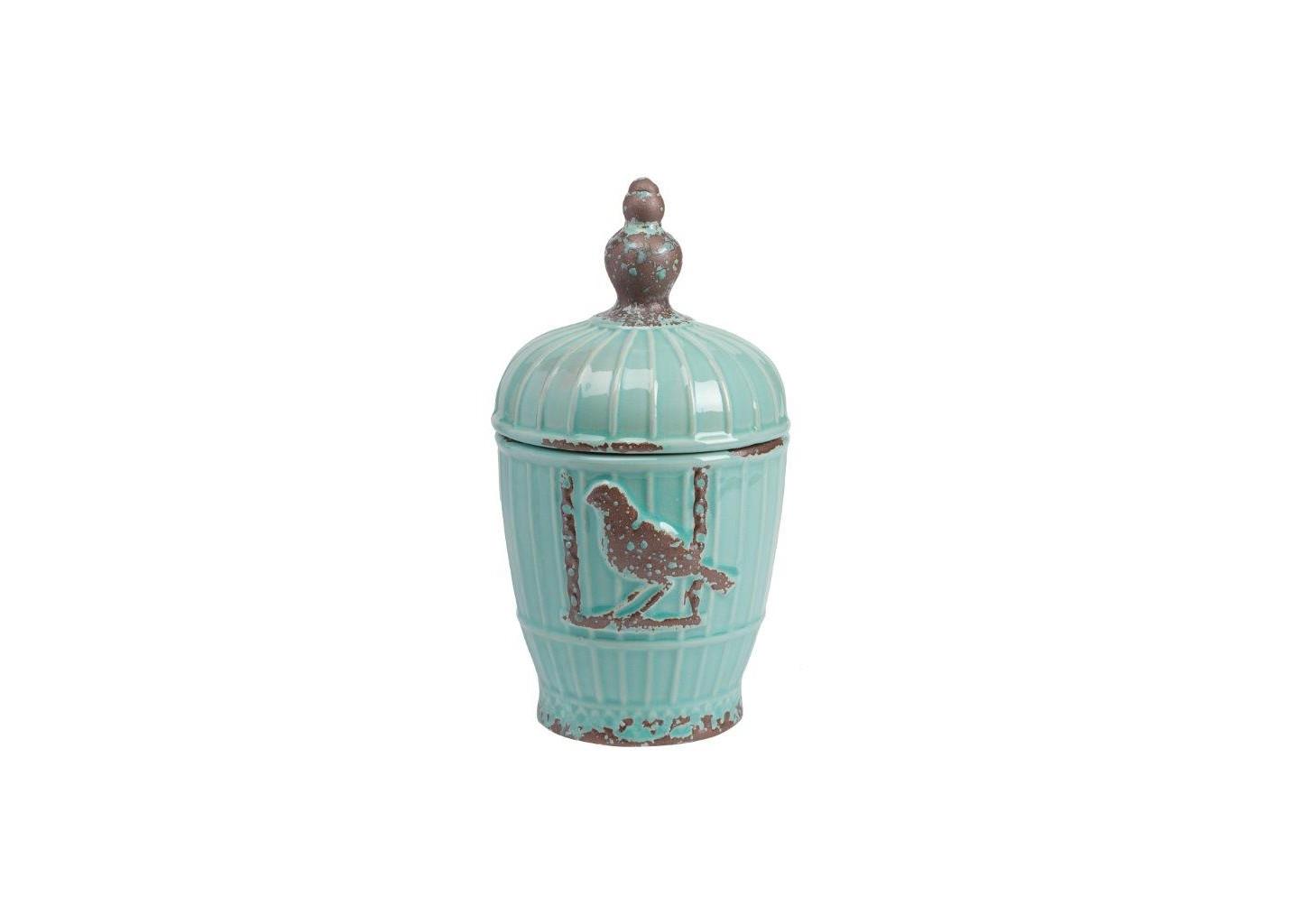 Декоративная ваза ZoltanВазы<br>Декоративная ваза Zoltan из керамики светло-зелёного цвета, с удобной крышкой, стилизована под старину. Ваза выполнена в виде клетки, с рельефным изображением птички, сидящей на перекладине. Весьма емкая ваза может выполнять как  хозяйственные функции, так и стать отличным дополнением интерьера вашего дома.<br><br>Material: Керамика<br>Height см: 25<br>Diameter см: 14