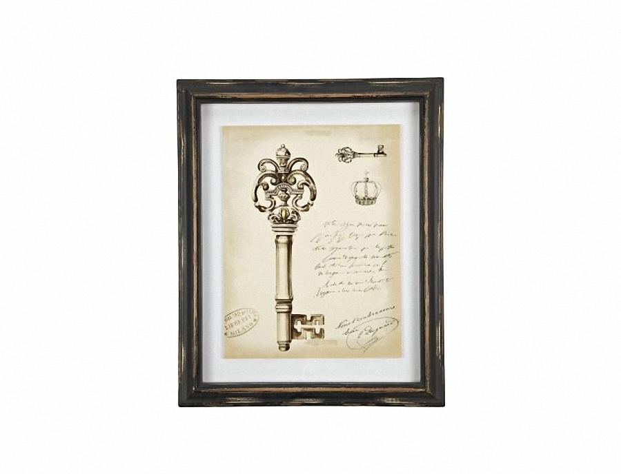 Картина в рамке Queen Sketchs KeyКартины<br>Картина в рамке Queen Sketchs Key поможет не только подчеркнуть изысканную лаконичную простоту интерьера в стиле Прованс, но и придать любой комнате уют и тепло. Спокойный серый фон картины с ненавязчивым аристократическим рисунком старинного ключа и короны украсит и освежит стены пастельных тонов. Элемент декора может составить отличное трио с другими картинами коллекции Queen Sketchs.<br><br>Material: МДФ<br>Width см: 34.3<br>Height см: 48.5