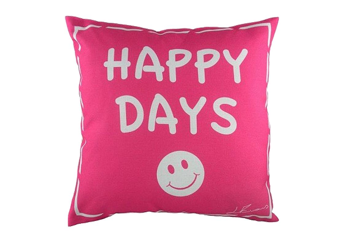 Подушка с надписью Happy DaysКвадратные подушки и наволочки<br>Подушка квадратной формы с надписью «Happy Days» («Счастливые дни») и веселым смайлом, покрыта тканью в ярко-розовом цвете. Мягкий и упругий наполнитель, хорошо поддерживает спину, поможет расслабиться и принять удобную позу. Подушка также будет отличным сувениром и оригинальным подарком.<br><br>Material: Текстиль<br>Width см: 43<br>Depth см: 14<br>Height см: 43