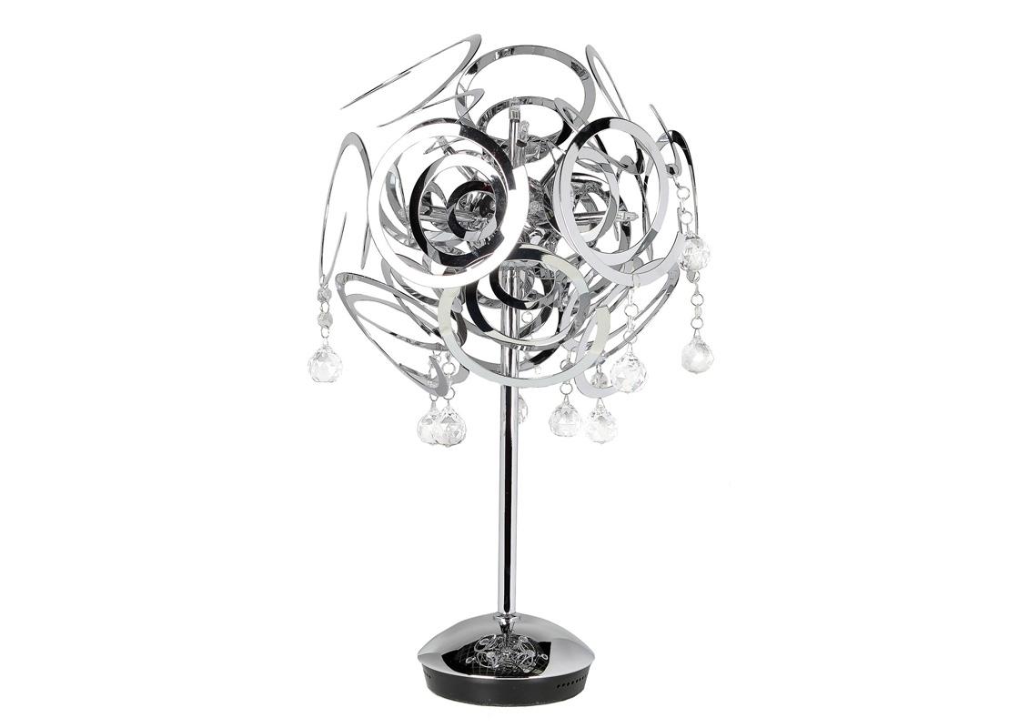 Настольная лампаДекоративные лампы<br>&amp;lt;div&amp;gt;Настольная лампа из коллекции Elica на хромированной арматуре. Плафон состоит из множества металлических спиралей. Декор: прозрачные хрустальные кулоны.`&amp;lt;/div&amp;gt;&amp;lt;div&amp;gt;Количество лампочек: 10&amp;lt;/div&amp;gt;&amp;lt;div&amp;gt;Мощность: 10 x 10 Вт&amp;lt;/div&amp;gt;&amp;lt;div&amp;gt;Тип лампы: Галогенная, G4 12V&amp;lt;/div&amp;gt;<br><br>Material: Металл<br>Height см: 62<br>Diameter см: 44