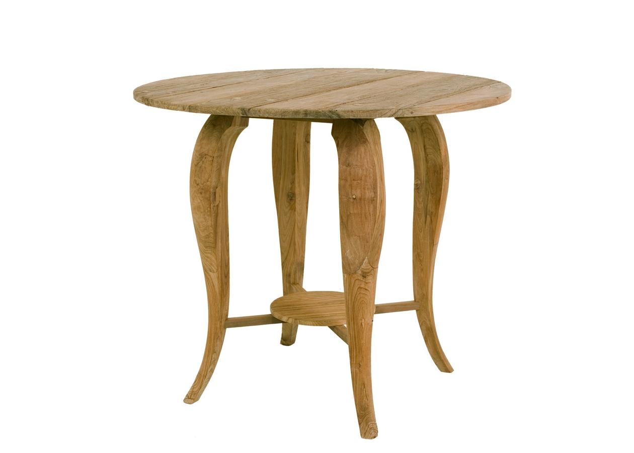 """Стол барный  """"Lucy"""" 130Барные столы<br>При производстве стола """"Lucy"""" сохранили богатую фактуру взрослого дерева. Круглая столешница и ножки-кабриоль напоминают осьминога. Они соединены пересекающимися планками, на которых закреплен небольшой деревянный диск.<br><br>Мебельная компания Teak House выпускает стильную, винтажную мебель из массива тика. Компания старается сохранить неповторимую фактуру, красоту и жизненную силу натуральной поверхности дерева, подчеркнуть ее удивительный и уникальный рисунок, созданный самой природой.<br><br>Material: Тик<br>Width см: 130<br>Depth см: 130<br>Height см: 110"""