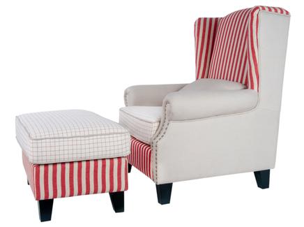 Кресло и пуф parris (mak-interior) красный 97x105x90 см.