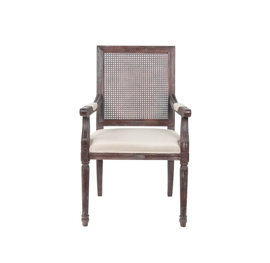 Стул WiltonСтулья с подлокотниками<br>Лаконичный стул с мягкими подлокотниками выполнен из массива дуба. Изюминка — филигранно исполненная спинка. Она избавляет предмет от лишней &amp;quot;классичности&amp;quot;, переводя в разряд предмета для разных стилей.<br><br>Material: Дуб<br>Width см: 59<br>Depth см: 57<br>Height см: 101