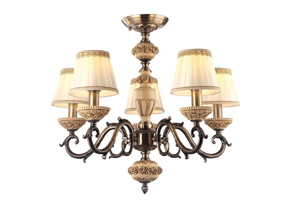 Подвесная люстраЛюстры подвесные<br>Вид цоколя: Е14. Мощность: 40W. Количество ламп: 5.<br><br>Material: Металл<br>Ширина см: 66<br>Высота см: 54<br>Глубина см: 66