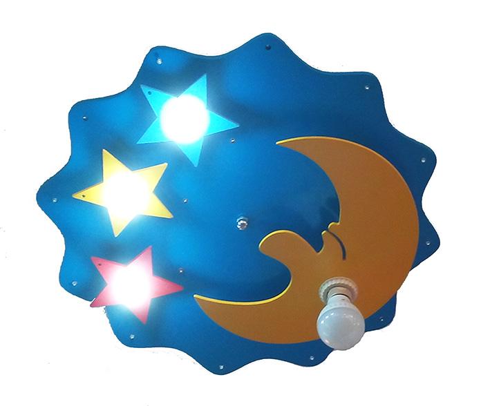 Светильник ЗВЕЗДОЧКАПотолочные светильники<br>E27 1*40w + LED 3*3w + Led 14*0.05w<br><br>Material: Стекло<br>Height см: 14<br>Diameter см: 52
