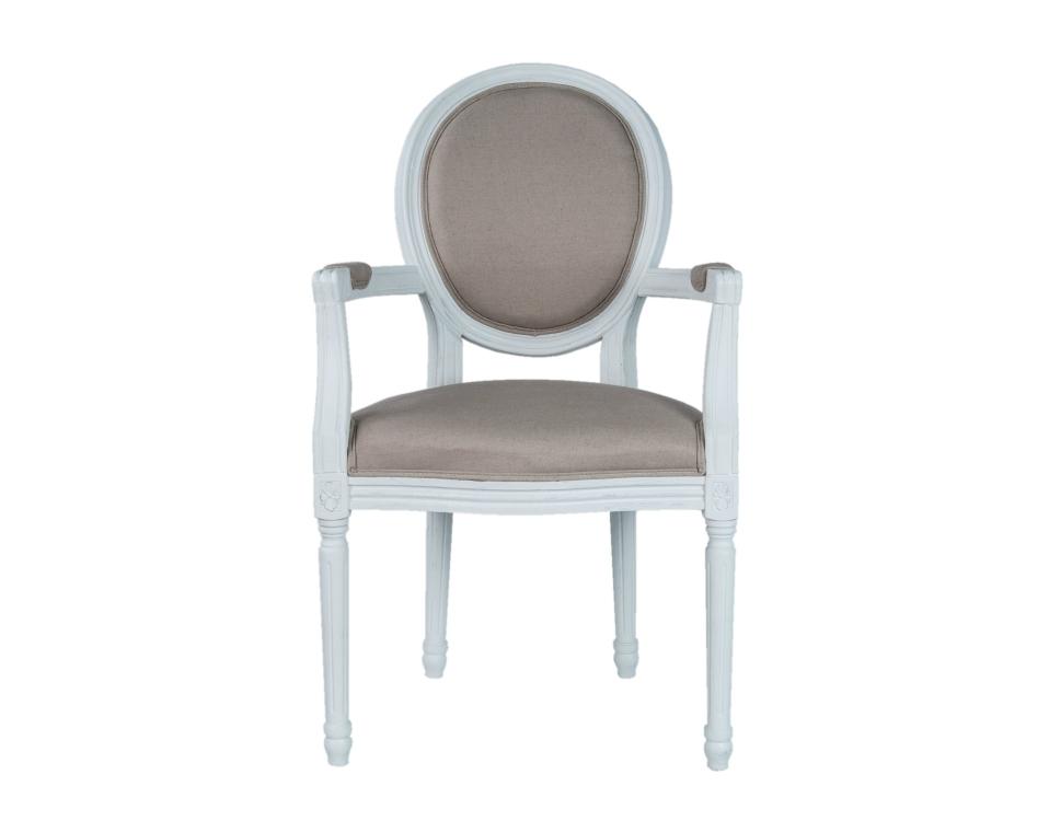 Полукресло Diella beigeПолукресла<br>Элегантное кресло Diella классического дизайна, его изящные подлокотники выполнены с применением резной работы по дереву. Модель с овальной спинкой в деревянной раме, украшенной резным элементом. Элегантное кресло с лаконичным размером отлично впишется в интерьер столовой, гостиной или кабинета.&amp;lt;div&amp;gt;&amp;lt;br&amp;gt;&amp;lt;div&amp;gt;&amp;lt;span style=&amp;quot;line-height: 24.9999px;&amp;quot;&amp;gt;Материал: лен, массив дуба.&amp;lt;/span&amp;gt;&amp;lt;br&amp;gt;&amp;lt;/div&amp;gt;&amp;lt;/div&amp;gt;<br><br>Material: Дуб<br>Width см: 57<br>Depth см: 57<br>Height см: 99