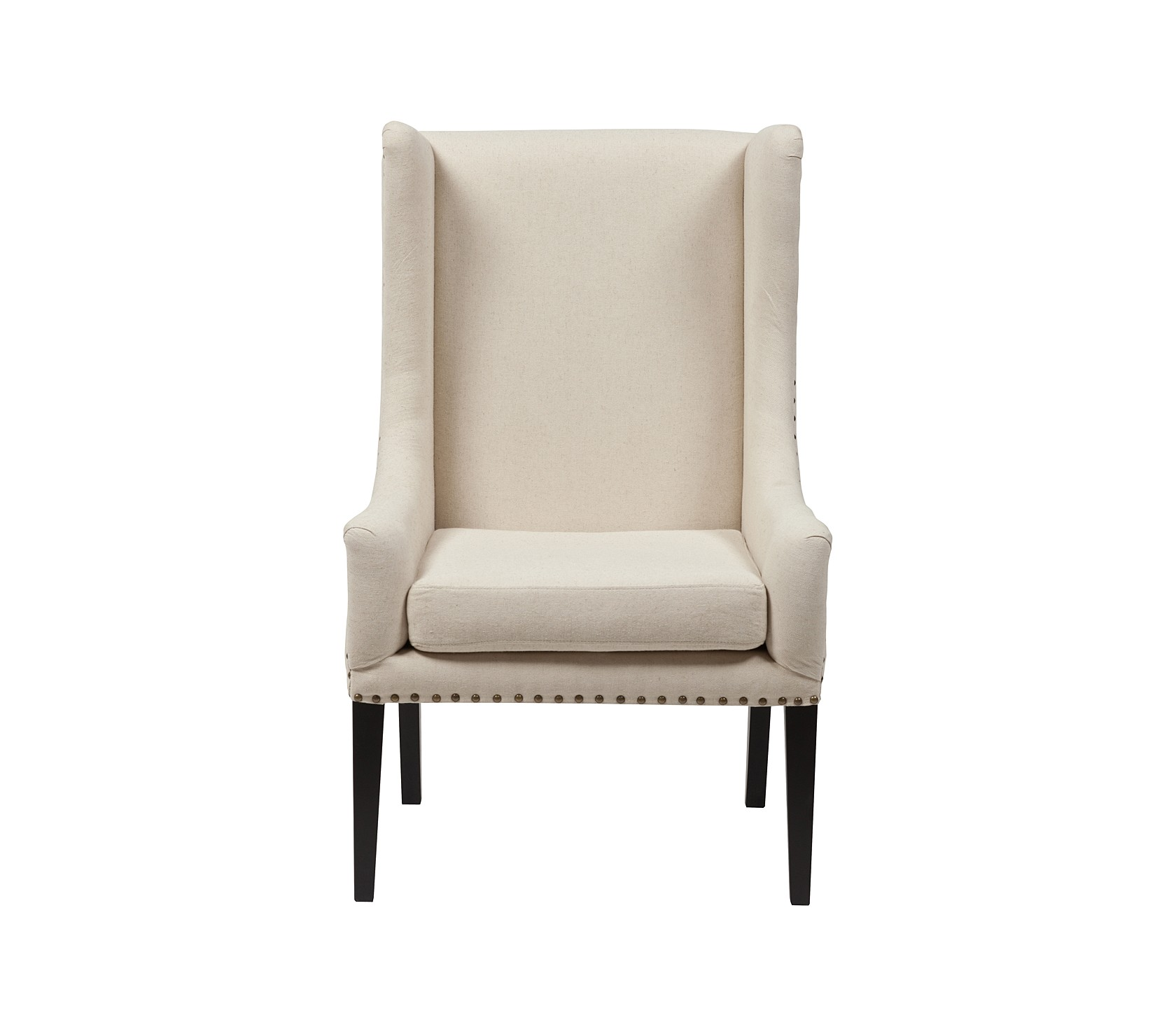 Кресло Nailhead Fabric ArmchairКресла с высокой спинкой<br><br><br>Material: Лен<br>Width см: 66<br>Depth см: 72<br>Height см: 112