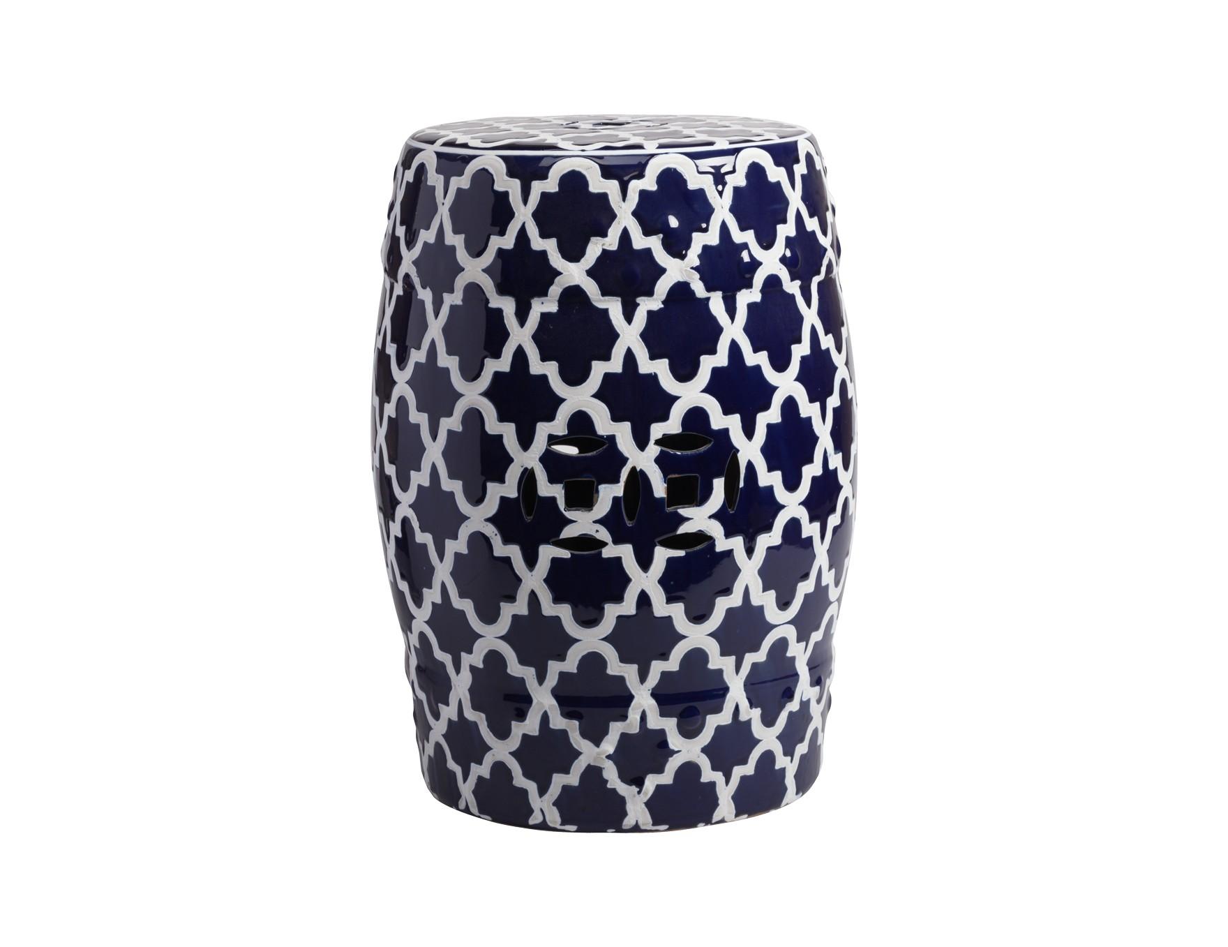 Керамический столик-табурет Istanbul StoolТабуреты<br>Это предмет мебели, который удачно сочетает в себе сразу две функции — его можно использовать и как стол, и как табурет, в зависимости от вашего желания. Примечательно, что эта модель выполнена не из дерева, как следовало бы ожидать, а из грубой керамики. Столик-табурет выполнен в тёмно-синем цвете, эффектно декорирован белым орнаментом, удачно дополнен отверстиями, которыми удобно воспользоваться для его перемещения. Такой столик-табурет будет уместен в интерьере с элементами стиля модерн, но и удачно впишется в интерьеры самых разных стилей.<br><br>Material: Керамика<br>Height см: 45<br>Diameter см: 33