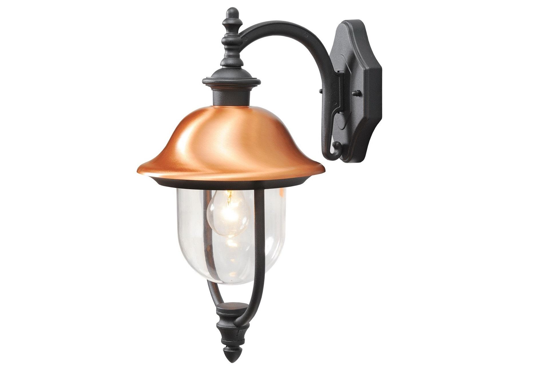 Уличный светильник ДубайУличные настенные светильники<br>Основание из алюминия черного цвета, плафоны из &amp;nbsp;акрила, декоративный элемент из меди.Мощность 1*95W &amp;nbsp;Цоколь E27Степень защиты<br>светильников от пыли и влаги&amp;nbsp;IP44<br><br>kit: None<br>gender: None