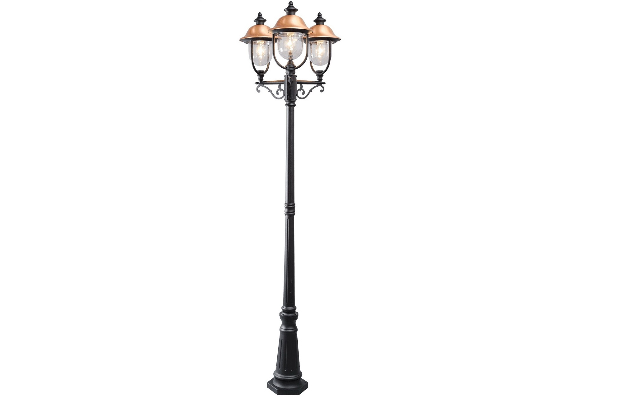 Уличный светильник ДубайУличные наземные светильники<br>&amp;lt;div&amp;gt;Основание из алюминия черного цвета, плафоны из &amp;amp;nbsp;акрила, декоративный элемент из меди.&amp;lt;/div&amp;gt;&amp;lt;div&amp;gt;&amp;lt;br&amp;gt;&amp;lt;/div&amp;gt;&amp;lt;div&amp;gt;Мощность 3*95W&amp;lt;/div&amp;gt;&amp;lt;div&amp;gt;Цоколь E27&amp;lt;/div&amp;gt;&amp;lt;div&amp;gt;&amp;lt;span style=&amp;quot;line-height: 1.78571;&amp;quot;&amp;gt;Степень защиты<br>светильников от пыли и влаги&amp;lt;/span&amp;gt;&amp;lt;span style=&amp;quot;line-height: 1.78571;&amp;quot;&amp;gt;&amp;amp;nbsp;IP44&amp;lt;/span&amp;gt;&amp;lt;/div&amp;gt;<br><br>Material: Алюминий<br>Length см: None<br>Width см: 56<br>Depth см: 61<br>Height см: 231