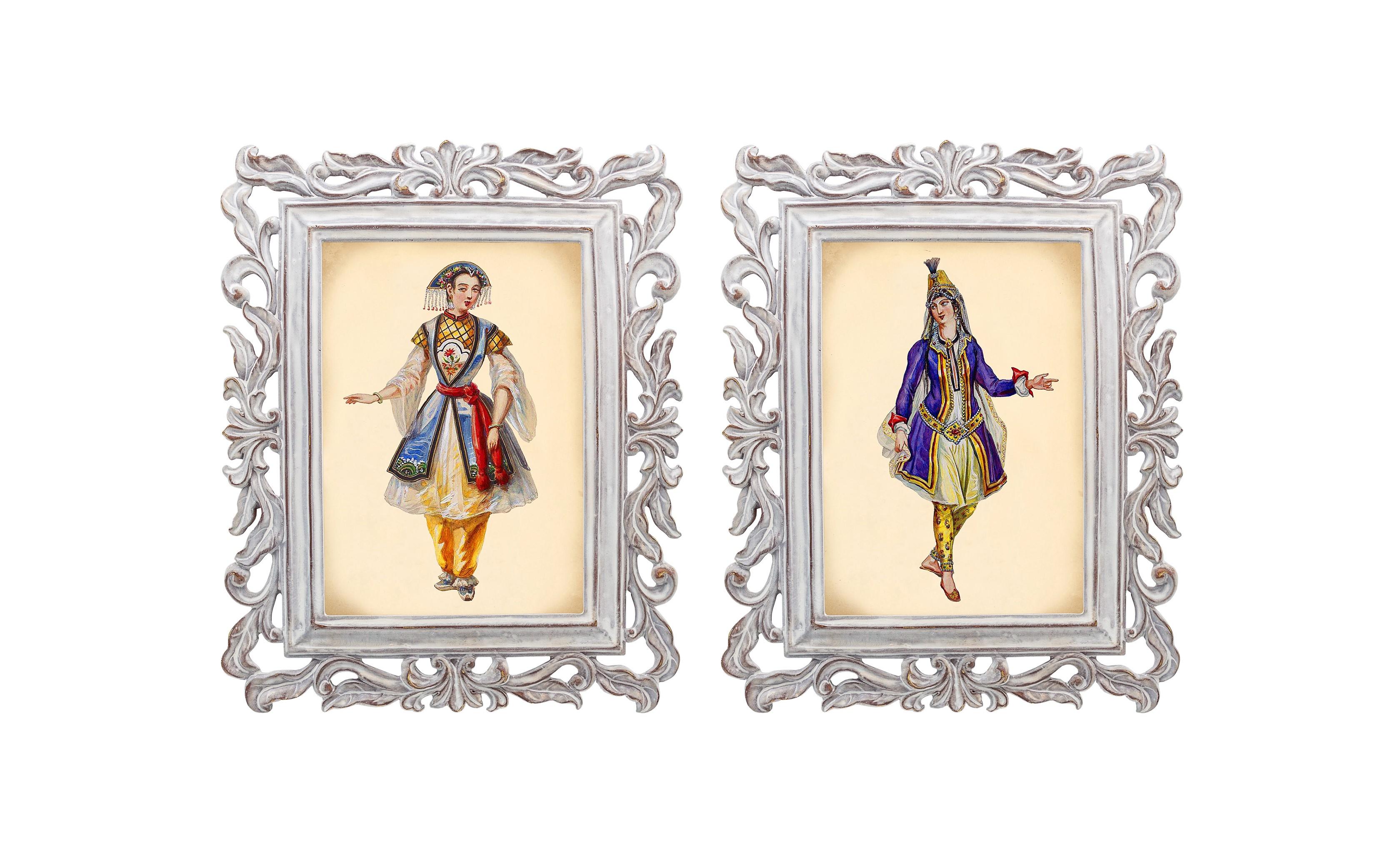"""Набор из двух репродукций старинных картин в раме """"Агата"""". """"Бурлеск"""". Версия 17"""